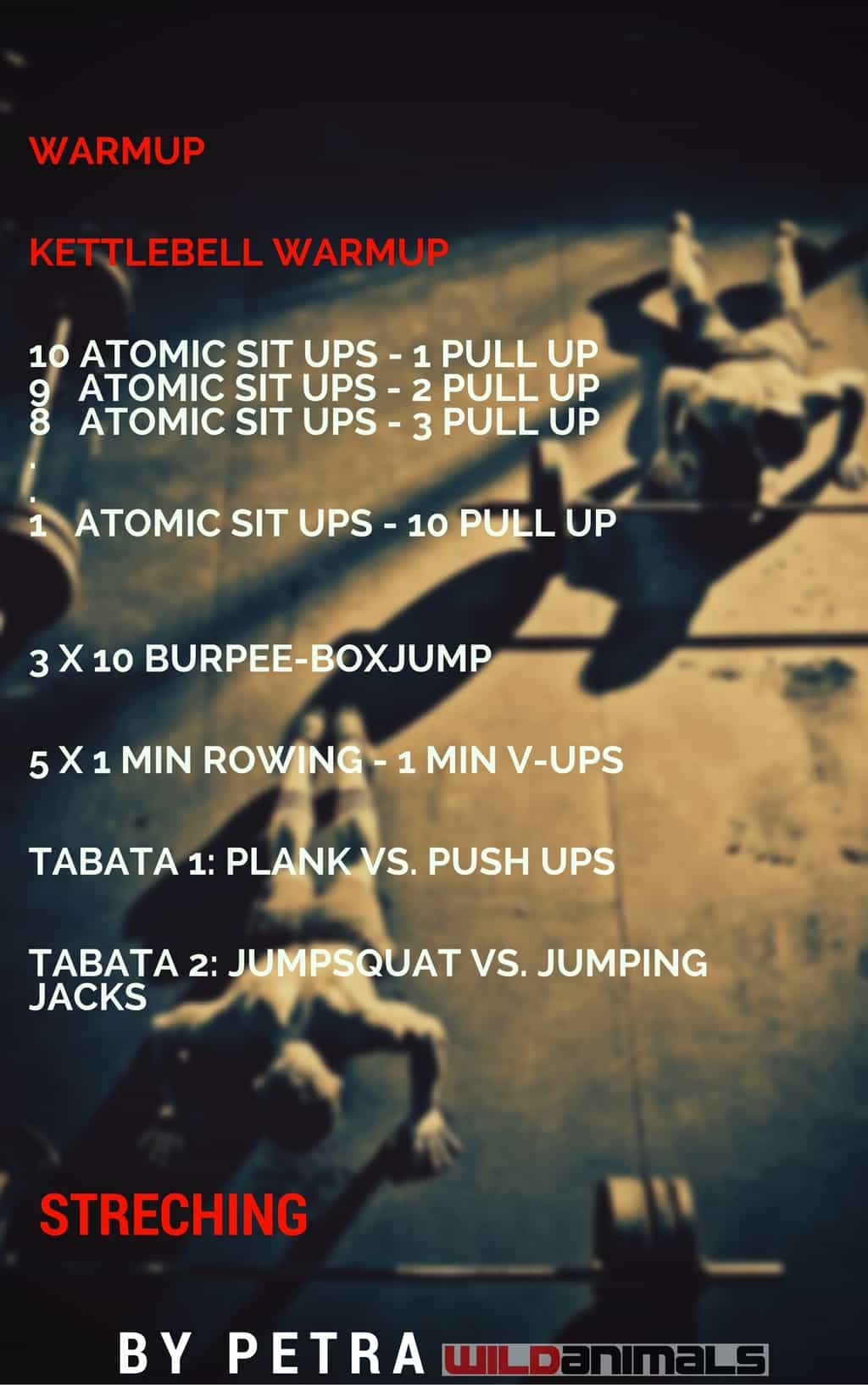 Atomic Sit UP, Kettlebell, burpee, plank, Sissy test, TABATA
